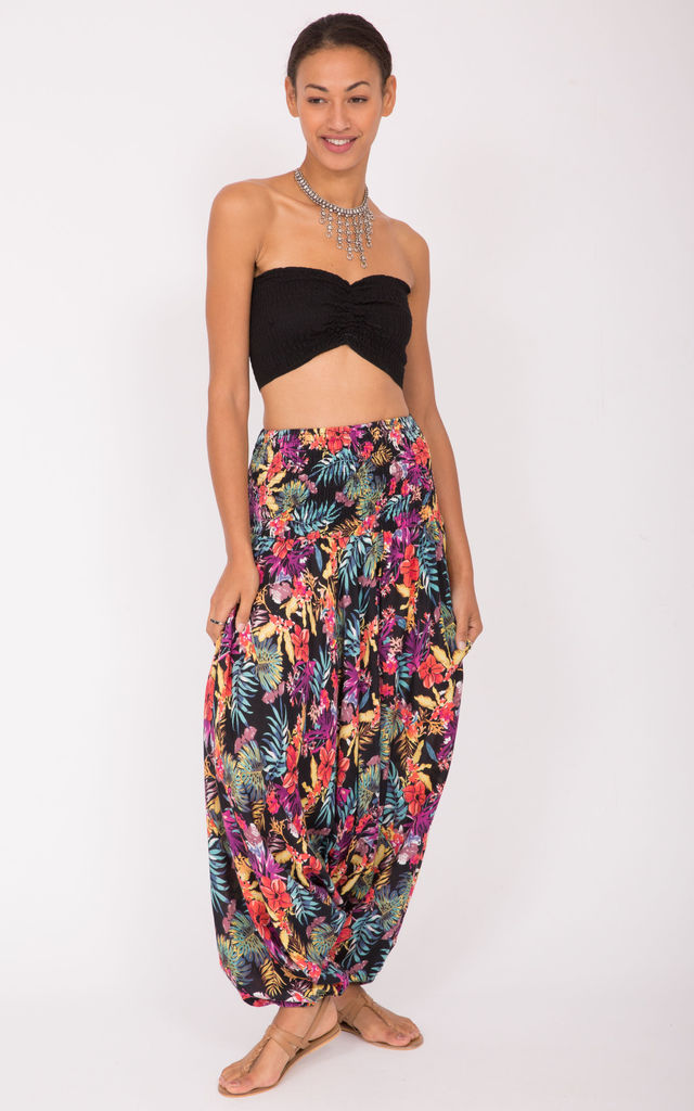 2 in 1 Printed Harem Trouser and Bandeau Jumpsuit Multi Florals by likemary