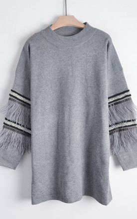 Jumper with Feather and Sequin Embellished Sleeves in Grey by CY Boutique