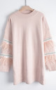 Jumper with Feather and Sequin Embellished Sleeves in Pink by CY Boutique