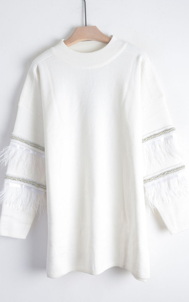 Jumper with Feather and Sequin Embellished Sleeves in White by CY Boutique