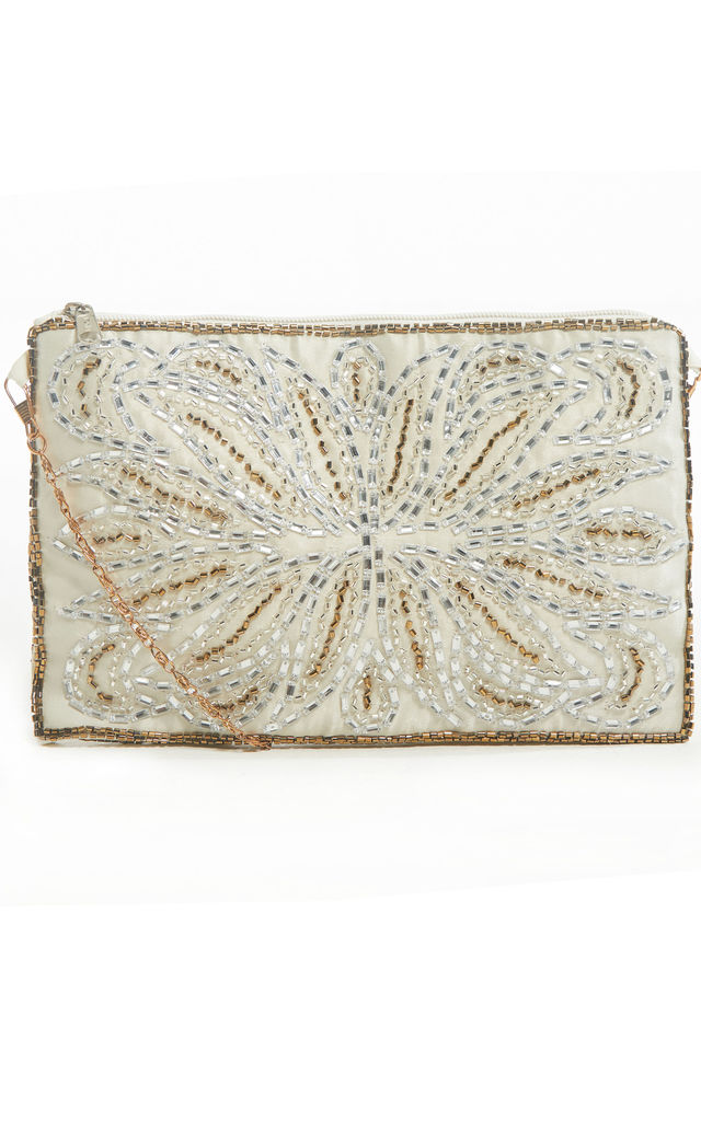 Florence Art Deco Off White Beaded 20s purse by Jywal