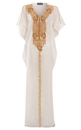 Fatima Floral Gold Beaded Beach Kaftan Dress Off White Long Maxi Dress by Jywal