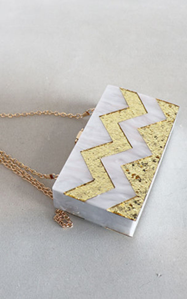 GEOMETRIC CLUTCH WHITE by THE CODE HANDBAGS