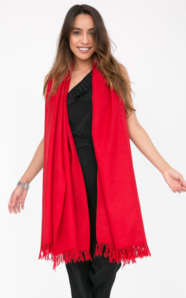 Kasa Oversized Merino Wool Scarf in Scarlet Red by likemary