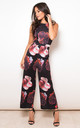 Amber Floral Print Culotte Jumpsuit Black Red by Girl In Mind