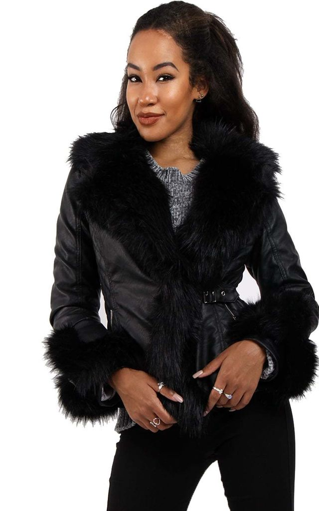 women search for official great variety styles Black Faux Fur Belted Leather Look Biker Jacket By Urban Mist
