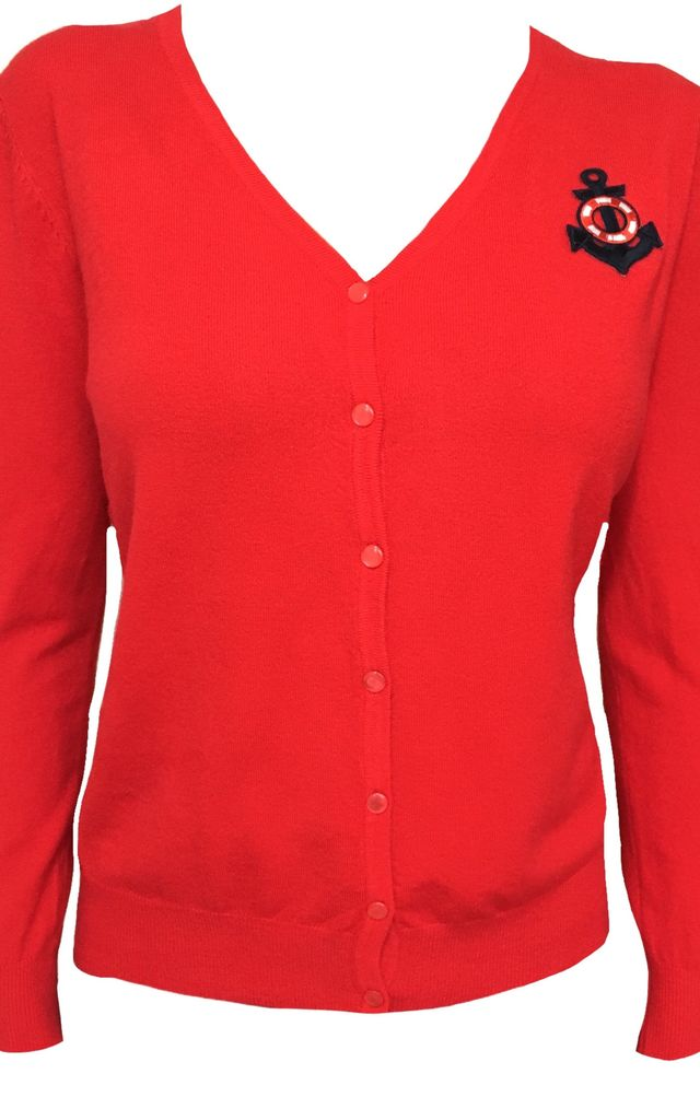Anchors away! - Red knitted cardigan by Trollied Dolly