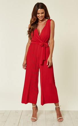 d9f87eeb9739 Red Culotte Pleated Tie Waist Jumpsuit