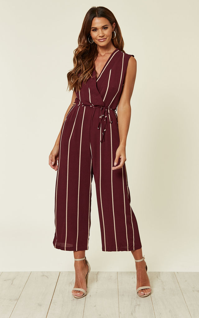 PLUM STRIPED CULOTTE JUMPSUIT by AX Paris