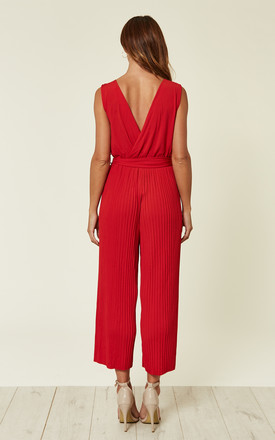 RED CULOTTE PLEATED TIE-WAIST JUMPSUIT by AX Paris