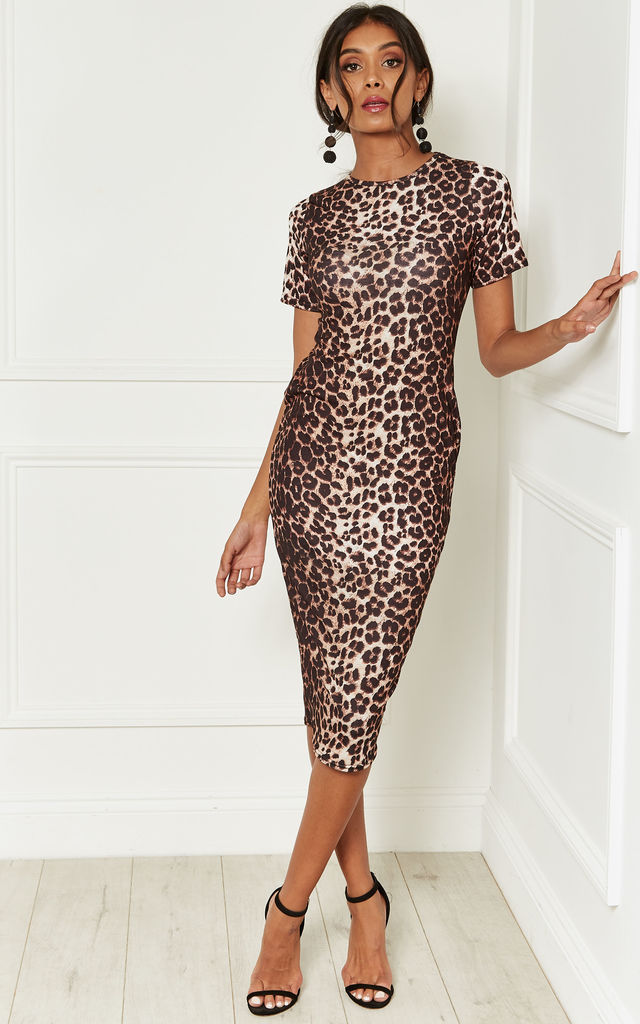 Image result for animal print midi dresses