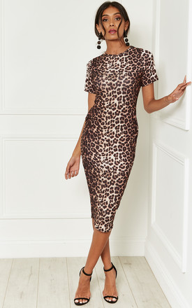 66fd7c43b8 Leopard Print Midi Bodycon Dress