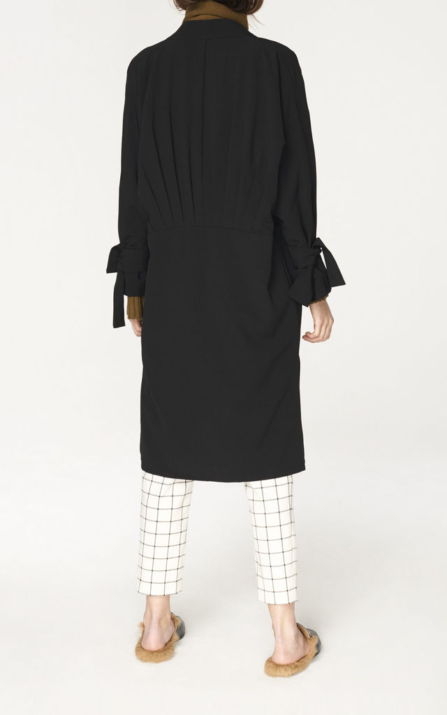 Oversized Wrap Coat with Pleated Waist Details in Black (with self belt) by Paisie