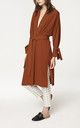 Oversized Wrap Coat with Pleated Waist Details in Brown (with self belt) (Variant) by Paisie