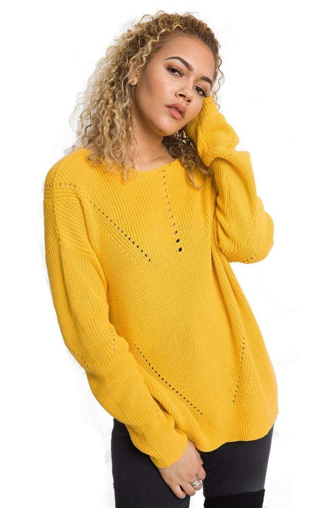 Yellow Longline Knitted Jumper by Urban Mist