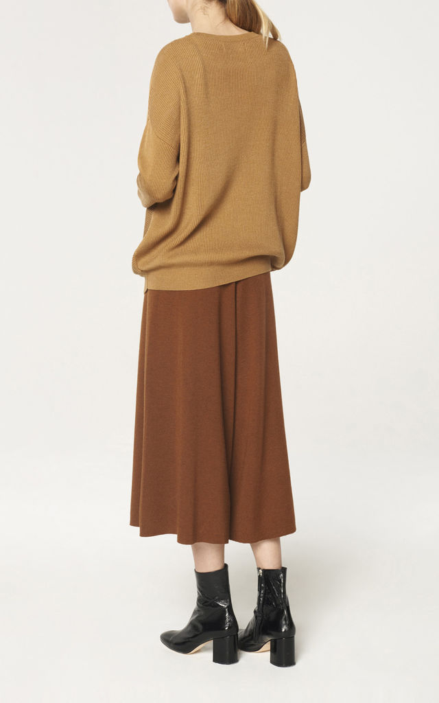 Round Neck Knitted Top with Diagonal Ribbed Detail in Camel by Paisie