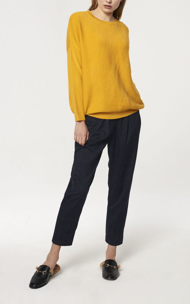Round Neck Knitted Top with Diagonal Ribbed Detail in Yellow by Paisie