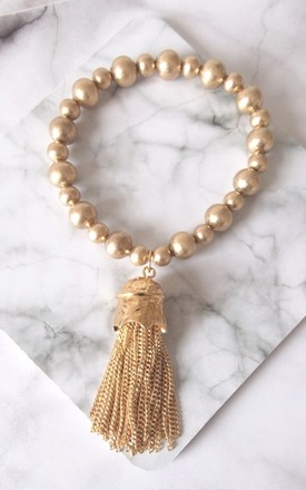 Gold Stretch Tassel Charm Bracelet by Olivia Divine Jewellery