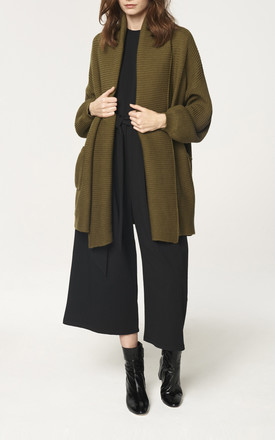 Ribbed Cardigan with Shawl Neck and Bishop Sleeves in Green by Paisie