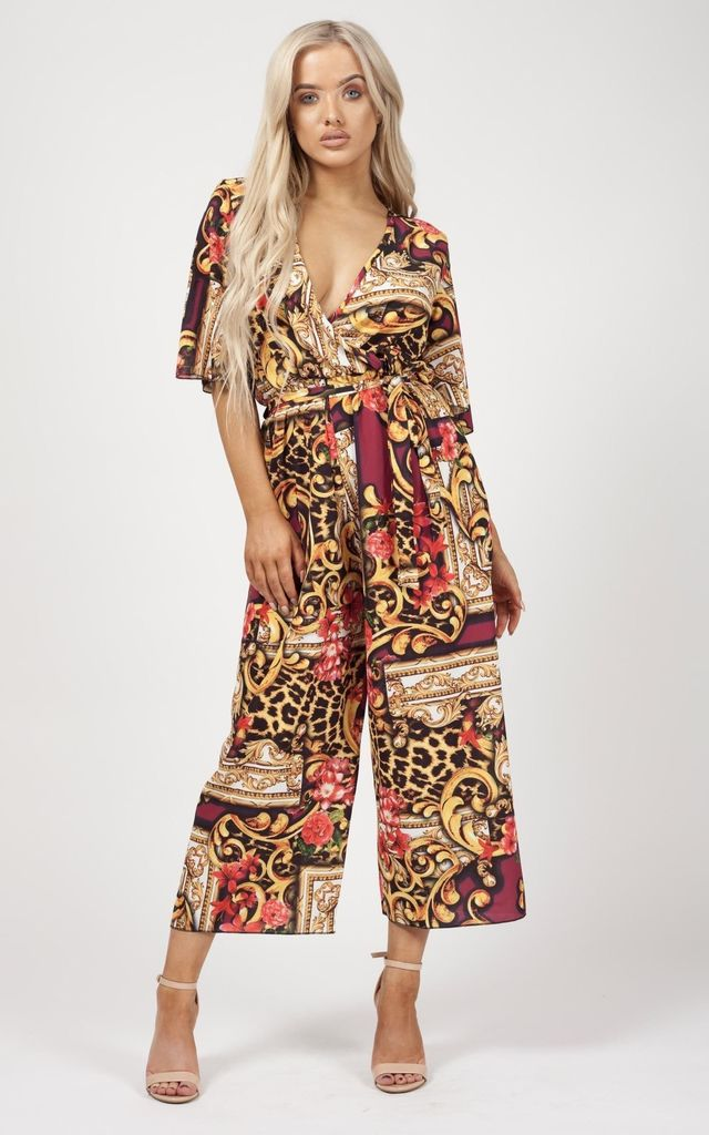 Zaylee Baroque Print Wrap Front Culotte Jumpsuit in Red by Vivichi