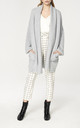 Ribbed Cardigan with Shawl Neck and Bishop Sleeves in Grey by Paisie