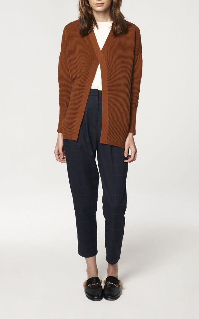 Ribbed Criss-Cross Jumper in Brown by Paisie