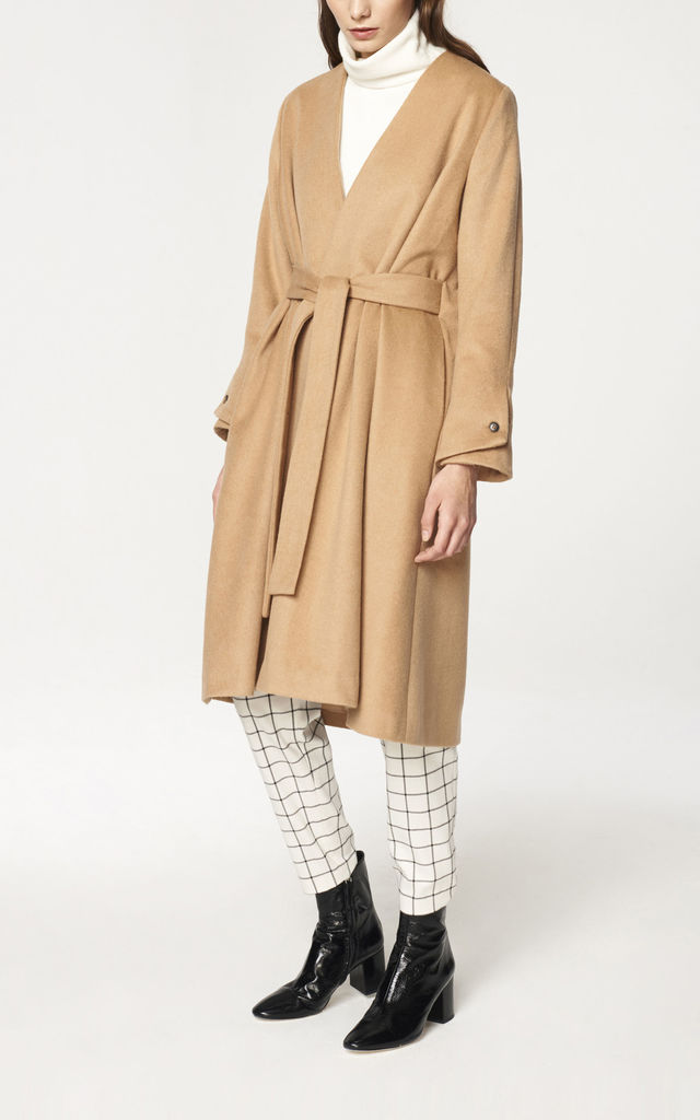 A-Line Collarless Coat with Cuff Details in Sand (with self belt) by Paisie