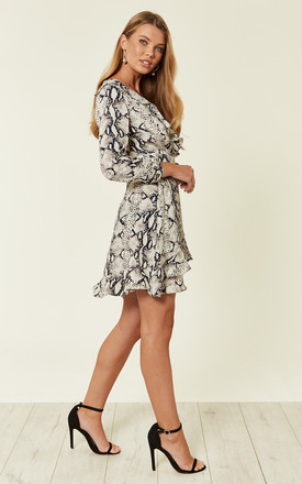 Snake Print Frill Wrap Dress by MISSI LONDON