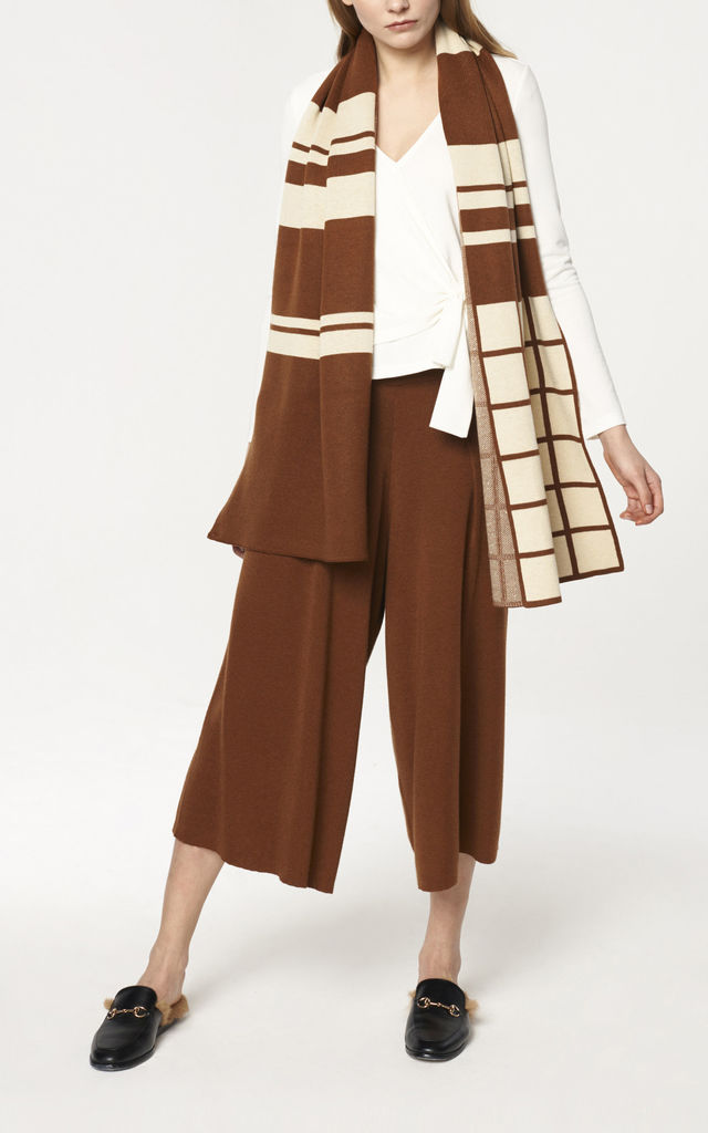 Oversized Scarf with Graphic Pattern in Brown and Cream by Paisie