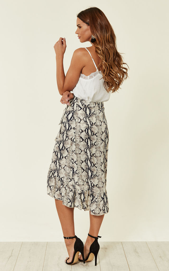 Snake Print Frill Wrap Skirt by MISSI LONDON