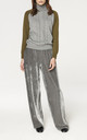 Roll Neck Jumper with Cable Knit Detail and Contrast Sleeves in Grey and Green by Paisie
