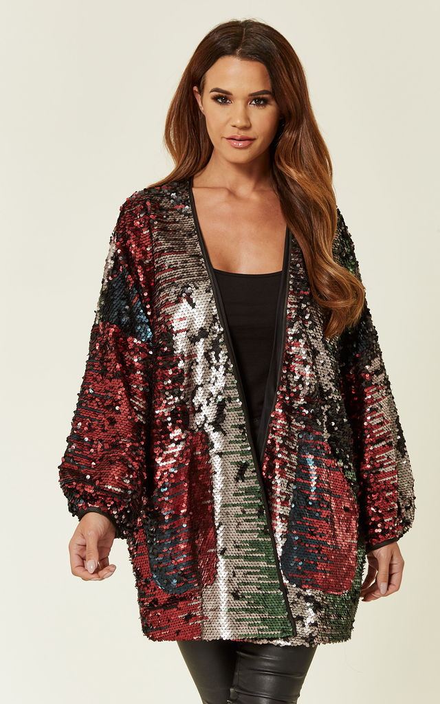 Dance Baby Dance Sequin Long Sleeved Shrug in Multi by Traffic People