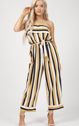 Celia Striped Frill Bandeau Culotte Jumpsuit In Mustard by Vivichi Product photo