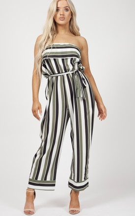 Celia Striped Frill Bandeau Culotte Jumpsuit In Green by Vivichi Product photo