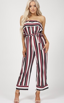 Celia Striped Frill Bandeau Culotte Jumpsuit In Red by Vivichi Product photo
