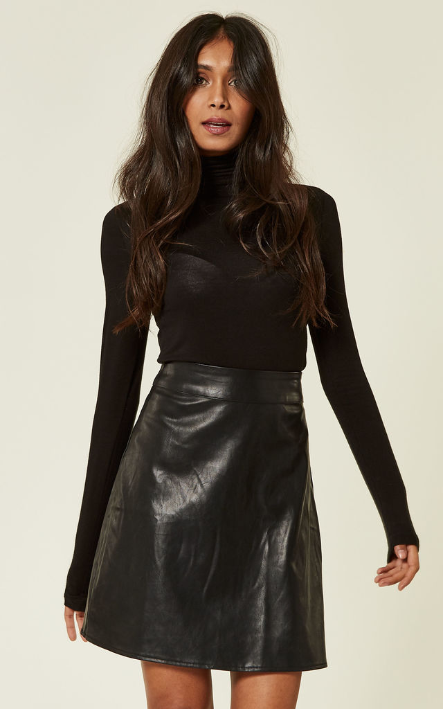 Black PU Leatherette Mini Skirt by MISSI LONDON