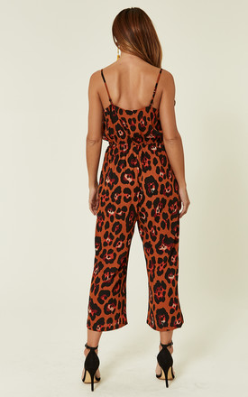 Tan Leopard Print Wrap Culotte Jumpsuit by MISSI LONDON