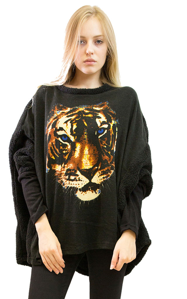 Oversized Jumper with Tiger Design in Black by CY Boutique