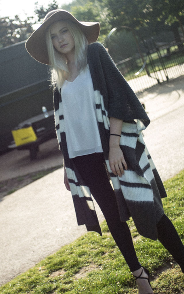 Knitted Poncho Cape In Grey And White Stripe By CY Boutique