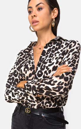 Dimaris Long Sleeve Shirt In Oversized Jaguar Leopard Animal Print by Motel Product photo