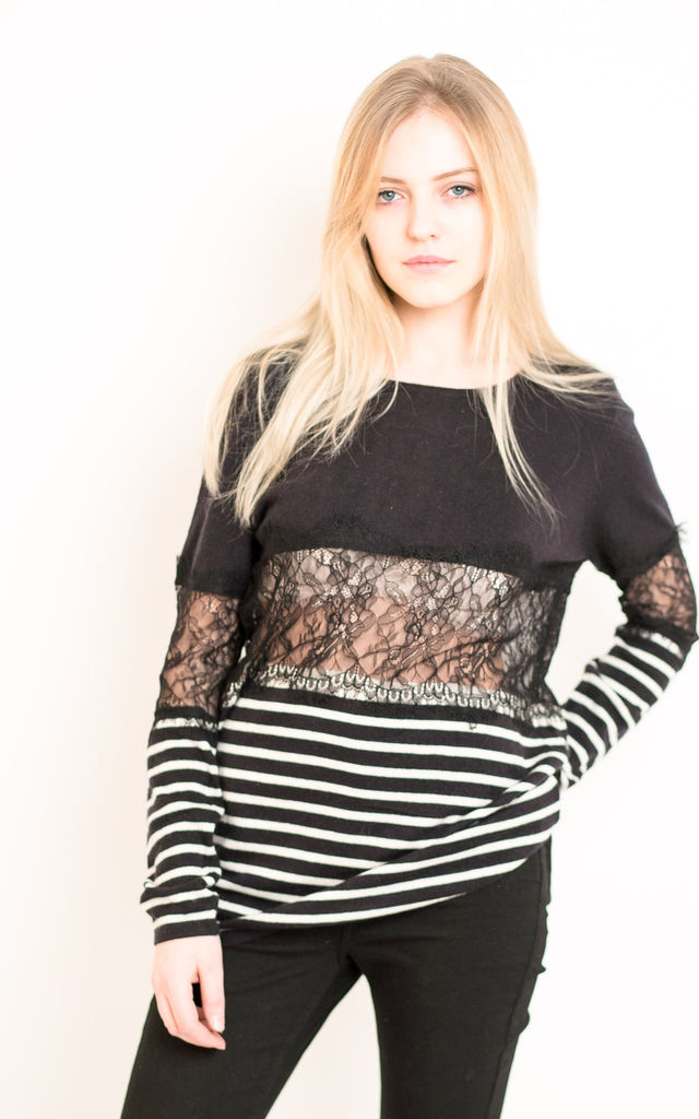 Long Sleeve Knitted Top with Eyelash Lace Detail in White and Black Stripe by CY Boutique