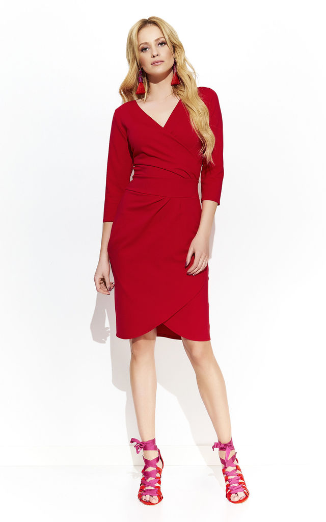 269bc40bd5ba Red 3/4 Sleeve Faux Wrap Dress | Makadamia | SilkFred