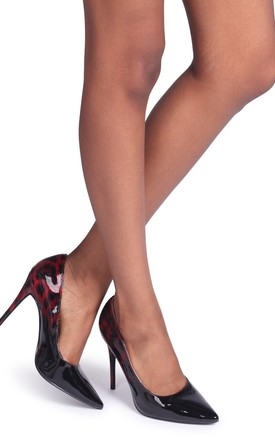 Phoenix Red Leopard Ombre Effect Stiletto Court Heel by Linzi