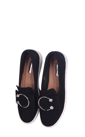 Melina Black Suede Slip On Skater with Horseshoe Bar and Stone Detail by Linzi