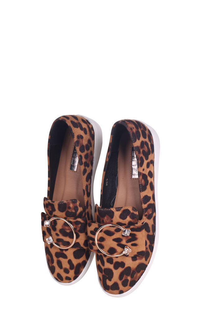 Melina Leopard Suede Slip On Skater with Horseshoe Bar and Stone Detail by Linzi
