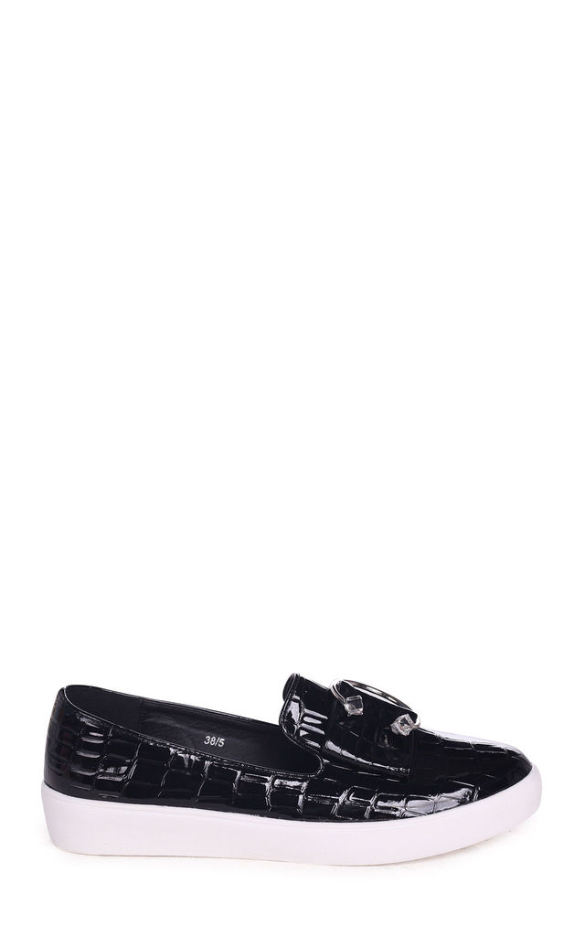Melina Black Croc Patent Slip On Skater with Horseshoe Bar and Stone Detail by Linzi