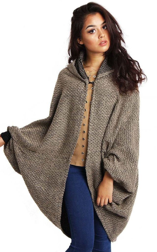 Camel Knitted Batwing Textured Hood Poncho Cardigan by Urban Mist