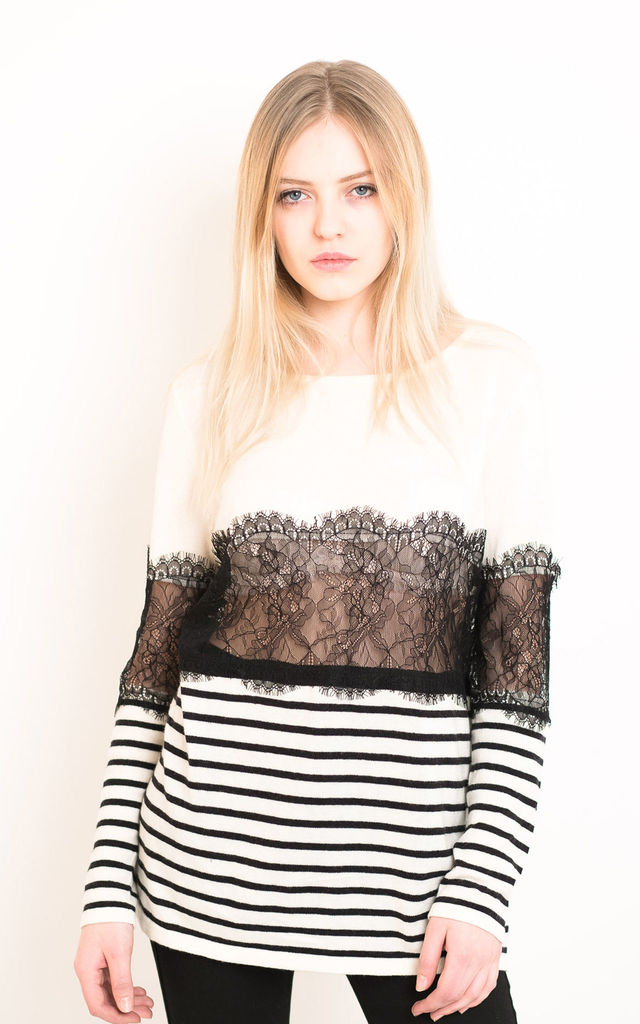 Long Sleeve Knitted Top with Eyelash Lace Detail in Black and White Stripe by CY Boutique