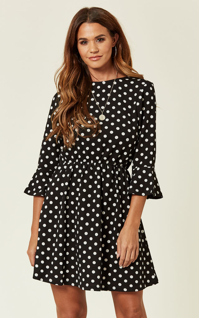 store exclusive deals famous brand Black Polka Dot Long Sleeve Skater Dress | AX Paris | SilkFred