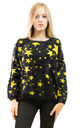 Long Sleeve Fluffy Jumper with Yellow Star Print in Black by CY Boutique